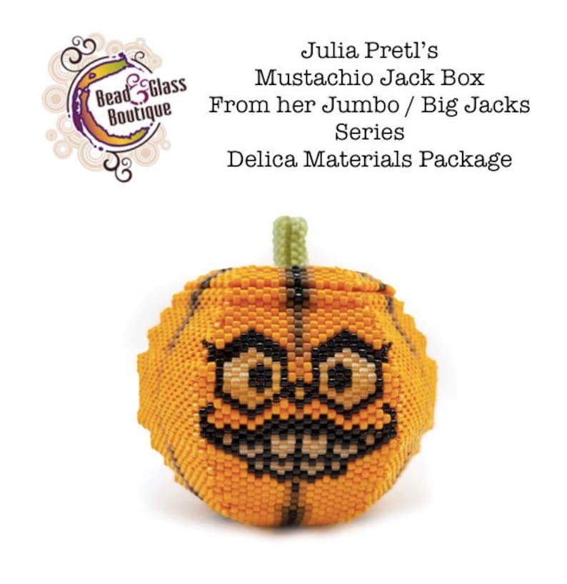 Delica Package for Julia Pretl's Jumbo Big Pumpkins Little Bead Boxes  CHOOSE YOUR JACK: Mustachio Jack, Nasty Jack, and Mummy Jack