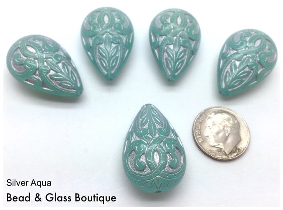 Qty 2 Green Aqua Coin Beads 22mm Round Mediterranean Design German Lucite