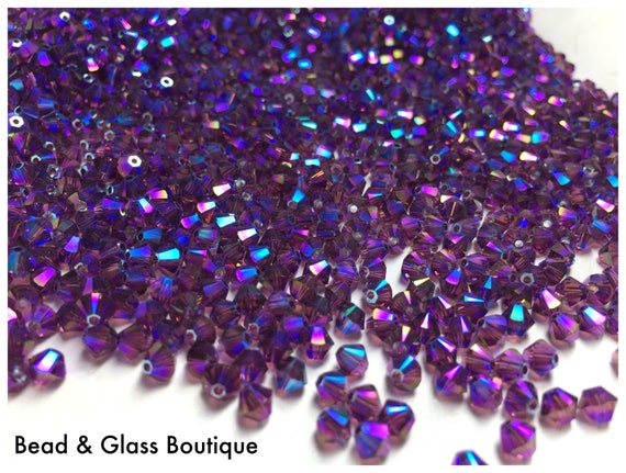 1588944af3c34 Swarovski Crystal #5328, Bicone Bead, Amethyst Shimmer 2X, CHOOSE YoUR SiZE  & QUANTiTY: 3mm and 4mm Bicone Beads