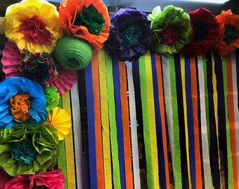 Mexican Tissue Paper Flowers Photo Wall Wedding Fiesta Etsy