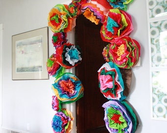 Mexican paper flower wall colored tissue paper pom poms set etsy mexican paper flowers photo wall tissue pom poms multicolor large multicolor wedding flowers mightylinksfo