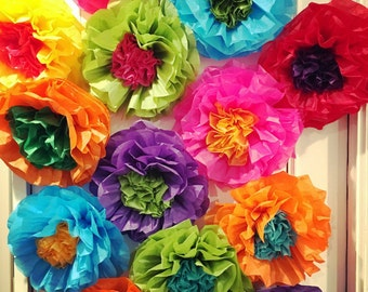 Tissue paper flowers etsy mexican tissue paper flowers photo wall wedding fiesta decorations set of 10 mightylinksfo