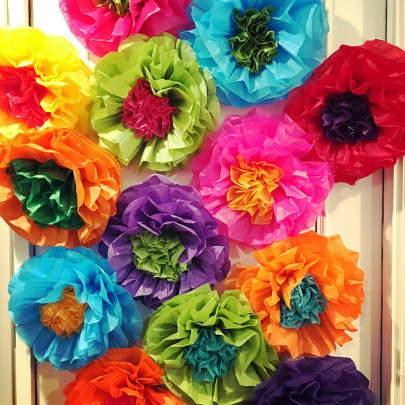Mexican Tissue Paper Flowers Photo Wall Wedding Fiesta Decorations Set Of 15