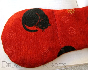 Cat Book Weight - Black Cats on Red with Gold and Red Pawprints - cat lovers kawaii page holder, neko kitty cookbook weight, japanese style