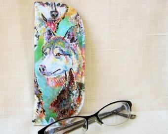 Husky Soft Case for Reading Glasses - Dog themed Foam Eyeglass Case - S