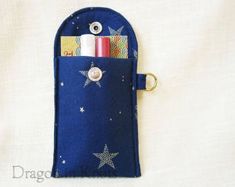 Keychain card holder etsy stars business card case navy blue lip gloss and credit card holder keychain wallet insulated padded mini essentials pouch night sky colourmoves