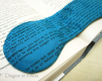 Bookish Book Weight - Teal cotton Fabric Textbook Page Holder, weighted bookmark, Anne of Green Gables