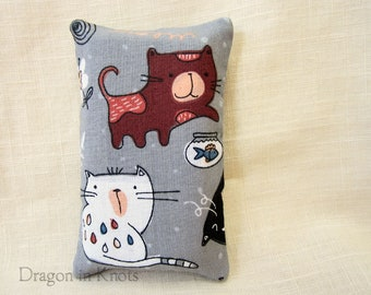 Cat Pocket Tissue Holder for To Go Facial Tissue Packets - Gray Travel sized Tissue Cover