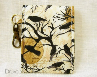 Crows Lip Gloss Holder - Tall or Short Insulated Keychain Pouch - Halloween