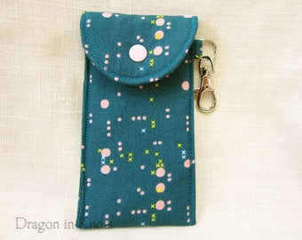 Circuitry Tall or Short Insulated Keychain Pouch - Teal Blue Cotton Lip Balm Case, Card Wallet with Swivel Clip, Lip Gloss Holder