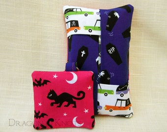Halloween Cat Pocket Tissue Holder and Earbud Case Keychain -bright pink and purple pouches