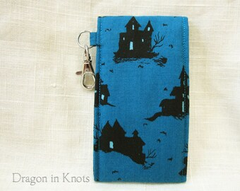 Lip Gloss Holder - Tall or Short Haunted House Lip Balm Pouch, blue and black Halloween insulated case, teal keychain card wallet