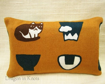 Pocket Tissue Holder - Cat, Mountain, Bowl, Rice Ball - mustard yellow and navy blue travel cover for To Go Facial Tissue Packets, onigiri