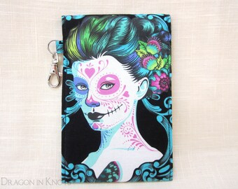 Calavera Catrina Two-Pocket Pouch - Day of the Dead Case for Smartphone and Passport