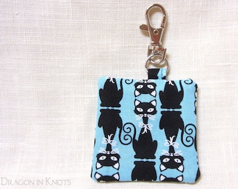 Black Cat Earbud Case - Guitar Pick Holder, Blue Cotton Fabric Keychain Pocket with Swivel Clip, Gift for Cat Lover
