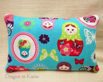 Russian Doll Pocket Tissue Holder - Aqua, Pink and Purple Travel-sized Facial Tissue Case, Cotton Fabric Pouch, Matryoshka