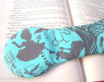 Aqua Alice Book Weight - cyan and gray Alice's Adventures in Wonderland bookish accessory