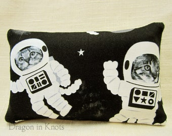 Cat Astronauts Pocket Tissue Holder - black cotton fabric accessory, outer space animals