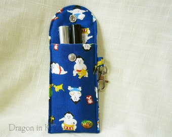 Sumo Wrestlers and Cats Lip Gloss Holder - Tall or Short Insulated Keychain Pouch, Blue Cotton Lip Balm Case, Card Wallet with Swivel Clip
