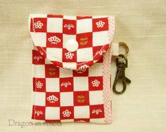 Floral Mini Essentials Pouch - Lip Gloss Holder, Card Wallet Keychain, red and ivory checked clip-on pouch, Japanese cotton fabric