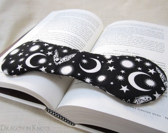 Bat Book Weight - black and white fabric bookweight page holder, Halloween