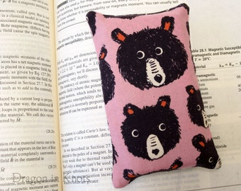 Bear Small Tissue Holder - Pink Orchid Pocket Tissue Case, Goldilock's neighbor, cotton fabric accessory
