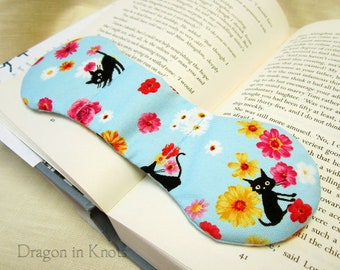 Cats and Flowers Book Weight - light blue floral, kawaii weighted bookmark page holder, book accessory, book snake
