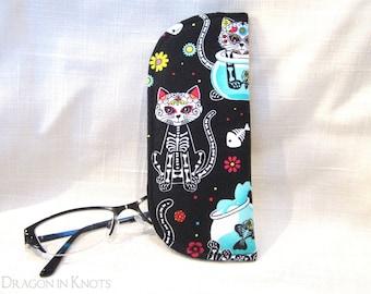 Sugar Skull Cat Eyeglass Case - S M - Day of the Dead reading glasses sleeve