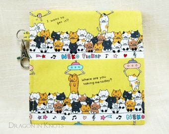 "Cat Claw Machine Accessory Pouch - 5"" yellow cotton canvas case with swivel clip keychain, neko picker"