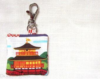 Earbud Holder - Japanese temple, textured cotton dobby, Guitar Pick Holder, cherry blossoms