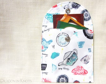 Tea Wallet - Teabag Pouch, white cotton with teacups and teapots, gift for tea drinkers