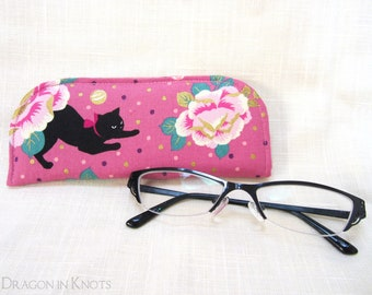 Cat and Roses Soft Case for Reading Glasses - Pink Foam Padded Eyeglass Case - S