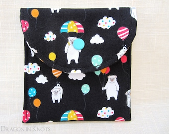 """Pugs with Balloons Pouch - 4"""" black cotton snap case - gift for dog lovers"""