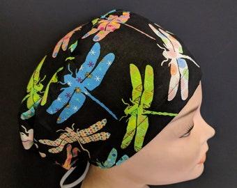 Euro Close Style Fun Dragonflies on Black Medical Surgical Scrub Hat Vet  Nurse Chemo CRNA Women Surgery Caps Chemo e78c6e4db490