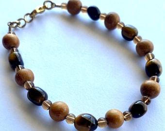 Tiger eye, wood, Czech glass brown casual bead bracelet