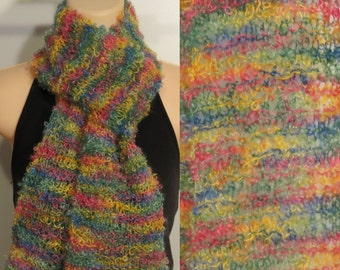 Hand Knit Scarf Lace Mohair Boucle Pinata yellow pink green blue
