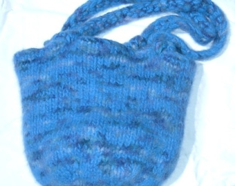 Hand Made Felted Tote in Handpainted Wool  MEDIUM blue