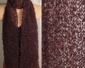 Hand Knit Scarf Lace Mohair Boucle Burgundy