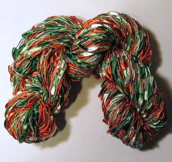 Hand painted Ladder Lace Yarn Christmas ribbon red green white