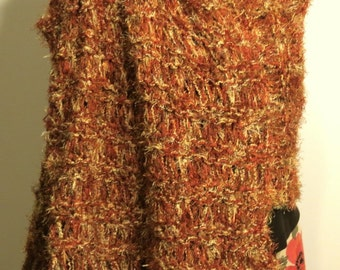 Hand Knit Shawl in Brown rust cream Fringed