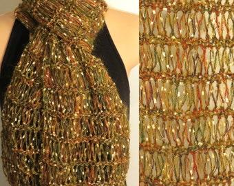 Scarf Hand Made Knit Mohair eyelash Goldenrod yellow