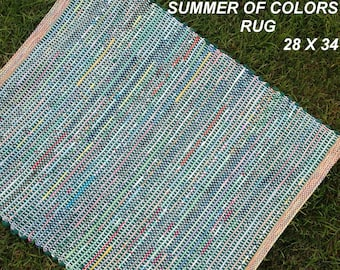 Handwoven --- Summer Of Colors --- Cotton Rag Rug -- 34 x 28 - one of a set of two