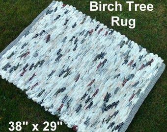 Handwoven Rug--- Birch Tree -- 38 x 29