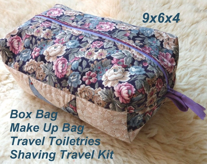 Quilted Star Box Bag - Make Up Bag - Travel Toiletries - Shaving Travel Kit