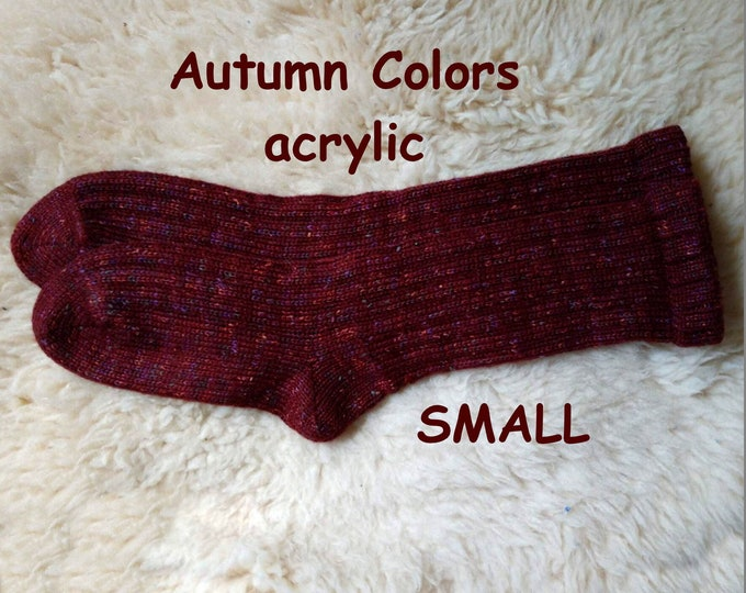 AUTUMN COLORS Socks --- washable acrylic nonallergenic -- SMALL