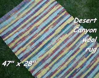 Handwoven --- Desert Canyon --- THICK Wool Fabric Rag Rug -- 47 x 28 - one of a set of two