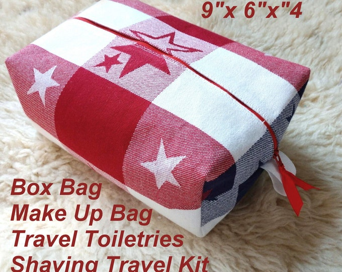 Patriotic Box Bag - Make Up Bag - Travel Toiletries - Shaving Travel Kit