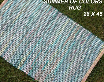 Handwoven --- Summer Of Colors --- Cotton Rag Rug -- 45 x 28 - one of a set of two
