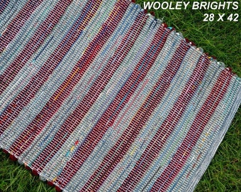 Handwoven --- Wooley Brights --- THICK Wool Fabric Rag Rug --  42 x 28