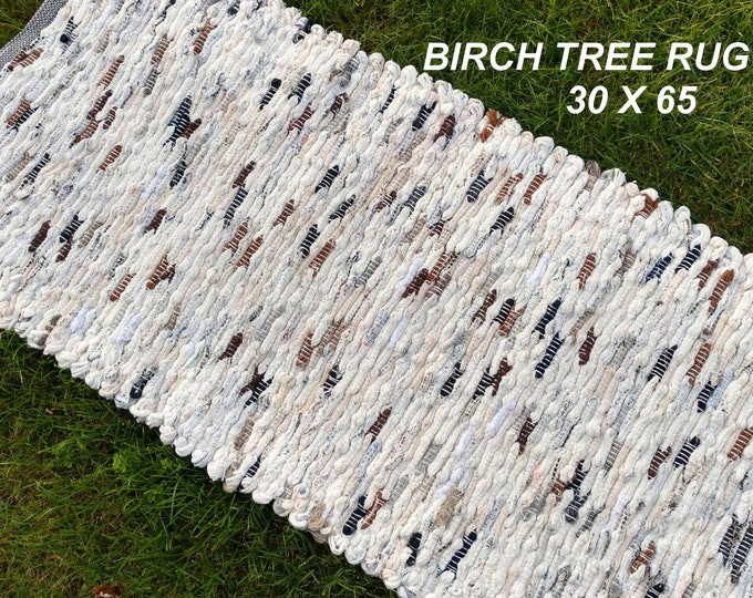 Handwoven Rug--- Birch Tree -- 30 X 65